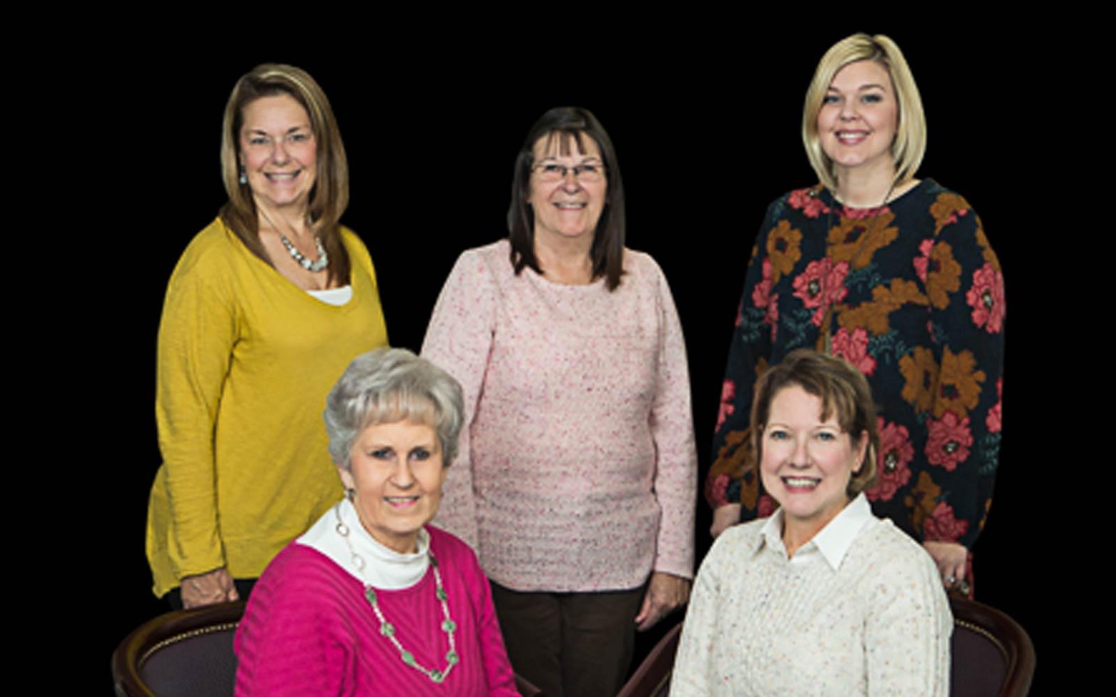 Row 1 - Sandra Hill, Karen Prendergast Row 2 - Laura Templin, Kim Hollifield, Casey Riley (L to R)